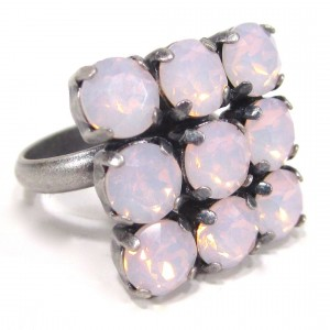 Ring quadrat rose water opal