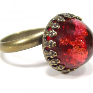 Ring vintage glas red dome Ringe 324x324 - Ring vintage coral matrix