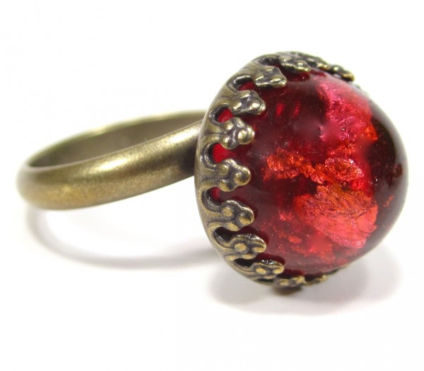 Ring vintage glas red dome Ringe 600x525 - Ring vintage glas red dome