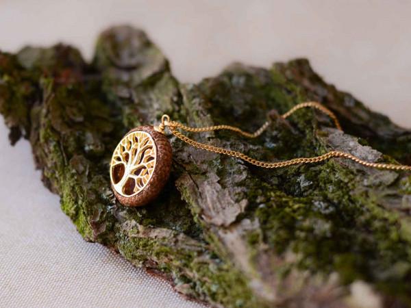 Schmuck kaufen Ebene Eichelhut Halskette Lebensbaum 925er Sterling Silber vergoldet Z215 2 von 5 600x450 - Eichelhut-Halskette Lebensbaum