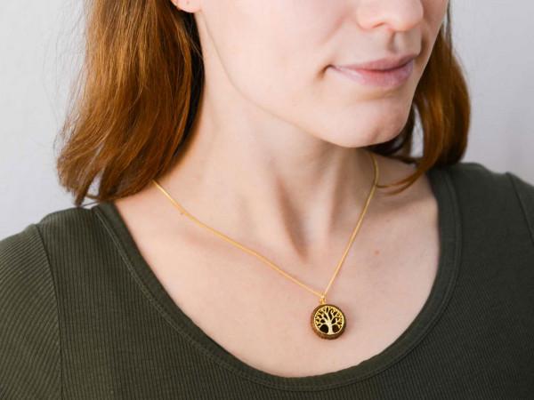 Schmuck kaufen Ebene Eichelhut Halskette Lebensbaum 925er Sterling Silber vergoldet Z215 5 von 5 600x450 - Eichelhut-Halskette Lebensbaum
