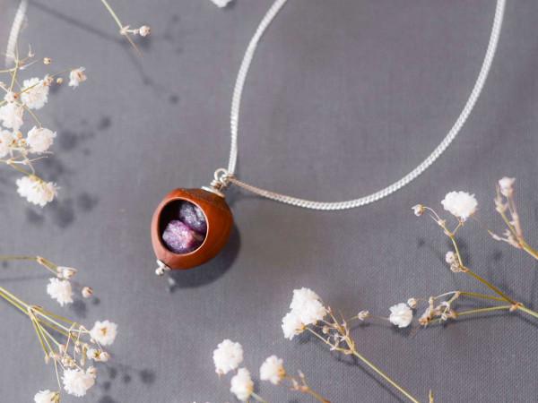Schmuck kaufen Haselnuss Halskette Rubin 925er Sterling Silber Z208 3 von 3 600x450 - Haselnuss Halskette mit Roh-Rubin