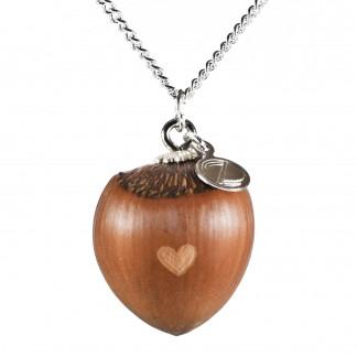 Schmuck kaufen Haselnuss Herz Halskette mit kleiner Herzgravur Silber Z187 324x324 - Haselnuss-Halskette mit Bergkristall