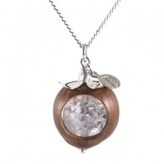 Schmuck kaufen Klare Haselnuss Halskette Bergkristall Edelstein Silber Z74 1 von 2 324x324 - Naturnahe Eichelhut-Halskette mit Perlmutt
