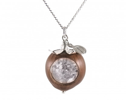 Schmuck kaufen Klare Haselnuss Halskette Bergkristall Edelstein Silber Z74 1 von 2 416x330 - Haselnuss-Halskette mit Bergkristall