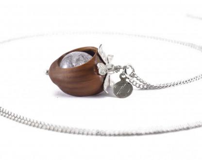 Schmuck kaufen Klare Haselnuss Halskette Bergkristall Edelstein Silber Z74 2 von 2 416x330 - Haselnuss-Halskette mit Bergkristall