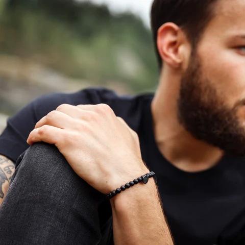 Schwarzes Design Armband für Männer mit Obsidian - Steinperlen Armband BLACKBITE schwarz
