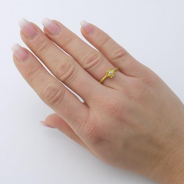 Seerosenring Gold mit Süßwasserperle 600x600 - Seerosenring aus Gold mit Süßwasserperle