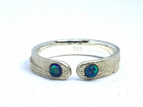 """Silberring mit Opal Ophalia 1 600x449 - Silberring """"Ophalia"""" mit zwei Opalen"""