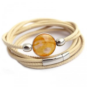 Wickelarmband 4-reihig in Cremeweiss mit orange gelbem Achat