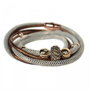 Wickelarmband - Halsschmuck aus Nappa-Leder in Multidot Bronze mit Swarovski-Becharmed Pave in Met Light Gold
