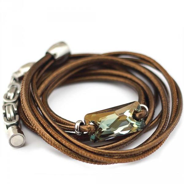 Wickelarmband Schmuck kaufen 600x600 - Wickelarmband aus Nappa-Leder in Bronze mit Swarovski-Kristall in Bronze Shade