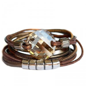 Wickelarmband aus Nappa-Leder in Bronze mit Swarovski-Twist Cabochon in Crystal Golden Shadow