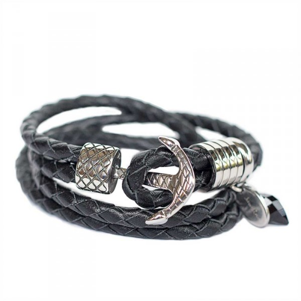 Wickelarmband in Schwarz mit Edelstahl Anker Verschluss 1 600x600 - Wickelarmband in Schwarz mit Edelstahl-Anker-Verschluss
