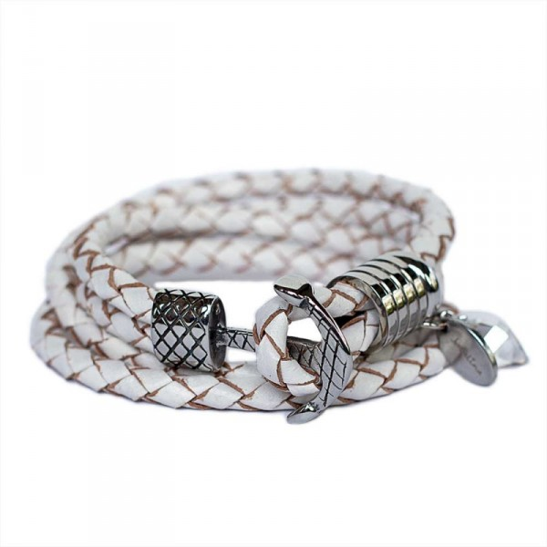 Wickelarmband in Weiss mit Edelstahl Anker Verschluss 1 600x600 - Wickelarmband in Weiss mit Edelstahl-Anker-Verschluss