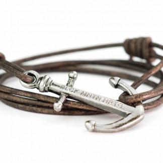 armband magellan antiksilber 324x324 - Anker Armband MAGELLAN Leder dunkelbraun