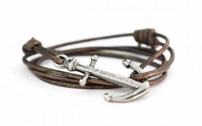 armband magellan antiksilber 416x260 - Anker Armband MAGELLAN Leder dunkelbraun