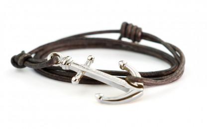 armband magellan silber 416x260 - Anker Armband MAGELLAN Leder dunkelbraun