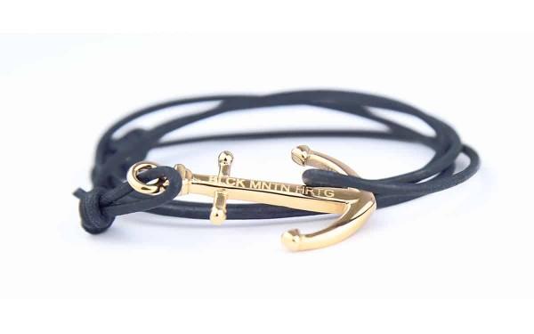 armband mit anker DARK OCEAN Leder vintage blau gold 600x375 - Anker Armband DARK OCEAN Leder navy vintage