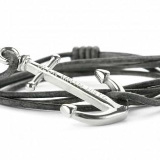 armband mit anker NATHAN antik grau silber 324x324 - Anker Armband NATHAN Leder antik grau