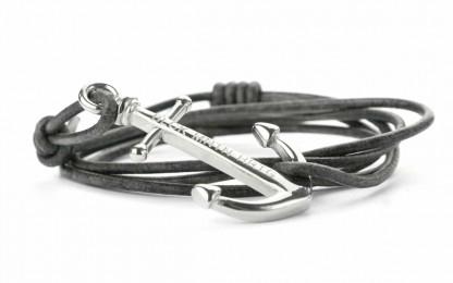 armband mit anker NATHAN antik grau silber 416x260 - Anker Armband NATHAN Leder antik grau