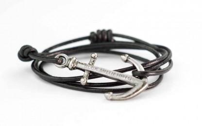 armband mit anker RALEIGH antik silber 416x260 - Anker Armband RALEIGH Leder vintage schwarz