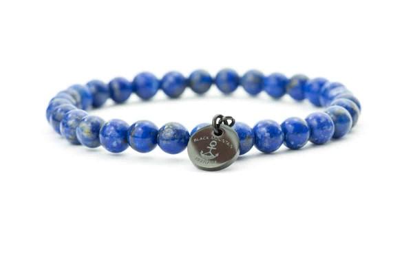 blau schwarz 600x375 - Steinperlen Armband LAZU blau