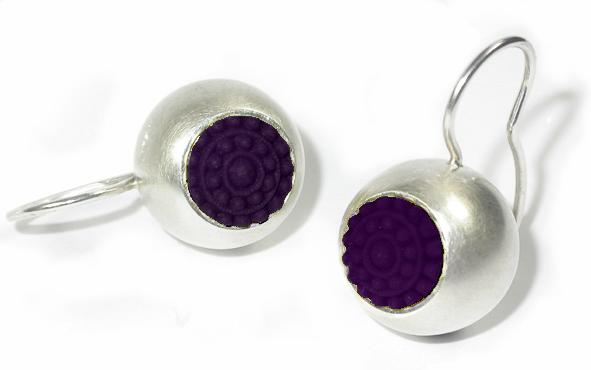 """dots fröhliche ohrringe silber aubergine schmuck - Silber-Ohrhänger """"dots"""" (Farbauswahl)"""