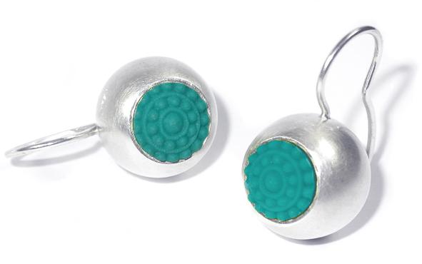 "dots ohrhänger aus silber in farbe türkis - Silber-Ohrhänger ""dots"" (Farbauswahl)"