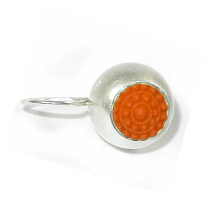 """dots silber ohrringe mit oranger farbe einzeln - Silber-Ohrhänger """"dots"""" (Farbauswahl)"""