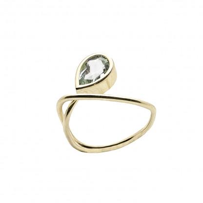 gelbgold ring kaufen aquamarin 416x416 - Courbe Goldring mit Aquamarin