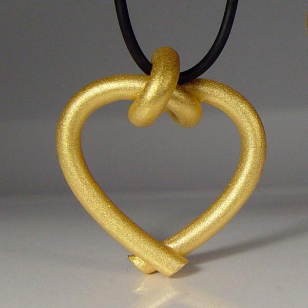 halskette knoten herzen rund gross gold 1 600x600 - GEBUNDENE HERZEN rund groß