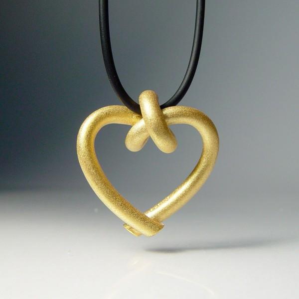 halskette knoten herzen rund klein gold 1 600x600 - GEBUNDENE HERZEN rund klein