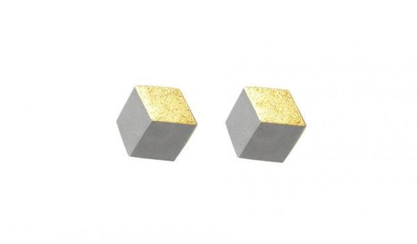 """ohrstecker ambivalenz grau gold s 214 600x351 - Ohrstecker """"Ambivalenz"""" Grau-Gold"""