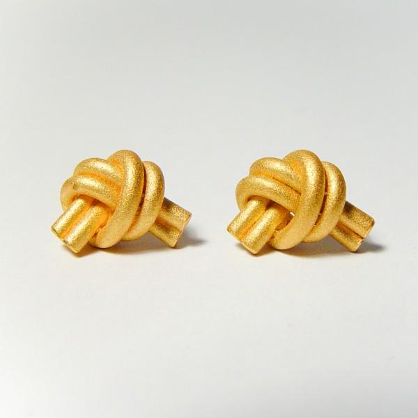 ohrstecker knoten doppelrund gold 1 600x600 - OHRKNOTEN doppelrund