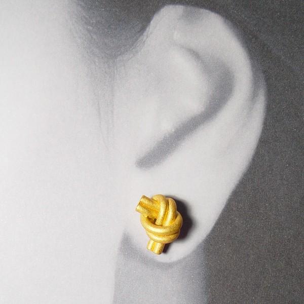 ohrstecker knoten doppelrund gold 2 600x600 - OHRKNOTEN doppelrund