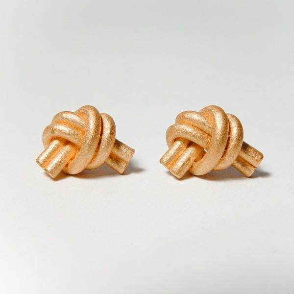 ohrstecker knoten doppelrund rose gold 1 600x600 - OHRKNOTEN doppelrund