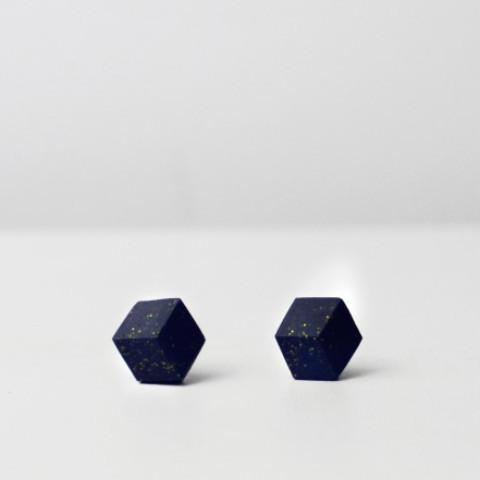 """ohrstecker purismus pastel blau s 202 - Ohrstecker """"Galaxie"""" Dunkelblau"""