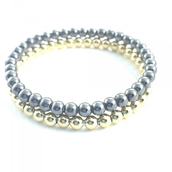 schmuck kaufen Armband Spheres 1001 312 schwarz und gold gestapelt vom schmuckdesigner 600x600 - Armband Spheres