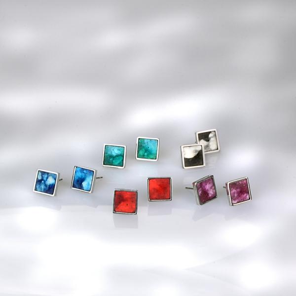 schmuck kaufen ohrstecker twinny quadrat 1 - Ohrstecker Twinny Q (Farbauswahl)
