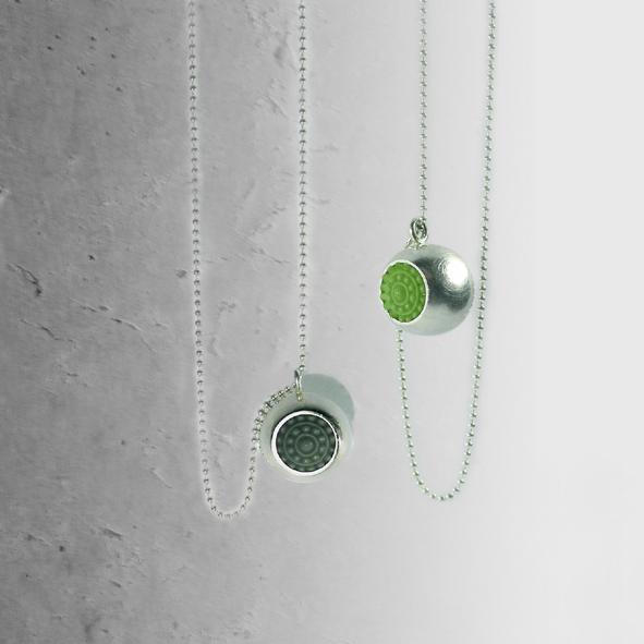 """schmuck vom designer dots silber ketten grün - Silber-Halskette """"dots"""" (Farbauswahl)"""