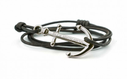 silber braun 1 416x260 - Anker Armband MAGELLAN Leder dunkelbraun