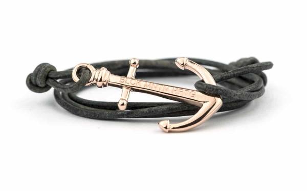 wickelarmband mit anker armband rose grau 600x375 - Anker Armband NATHAN Leder antik grau