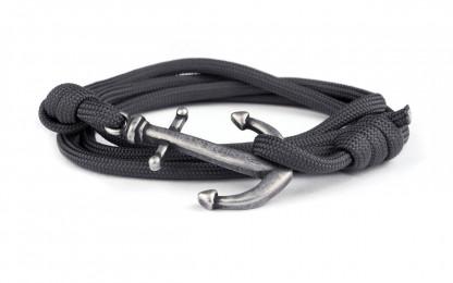 wickelarmband mit anker graphit silberantik 416x260 - Anker Armband DRAKE grau